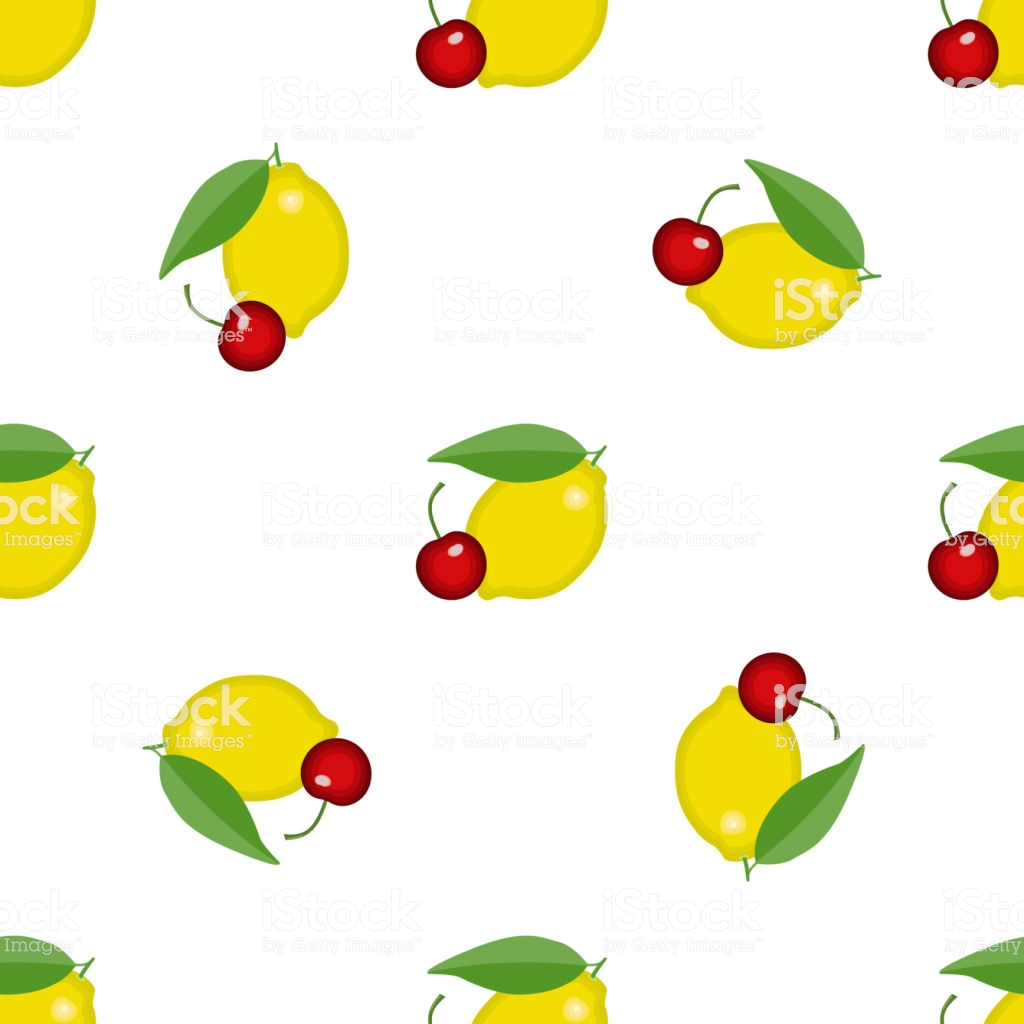 Seamless Pattern Texture With Lemon And Cherry Vector Textile.