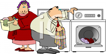 Cartoon couple doing the laundry in a Washer and Dryer at Home.