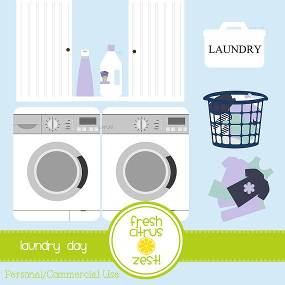 Laundry clip art washing machine dryer by FreshCitrusZest on Etsy.