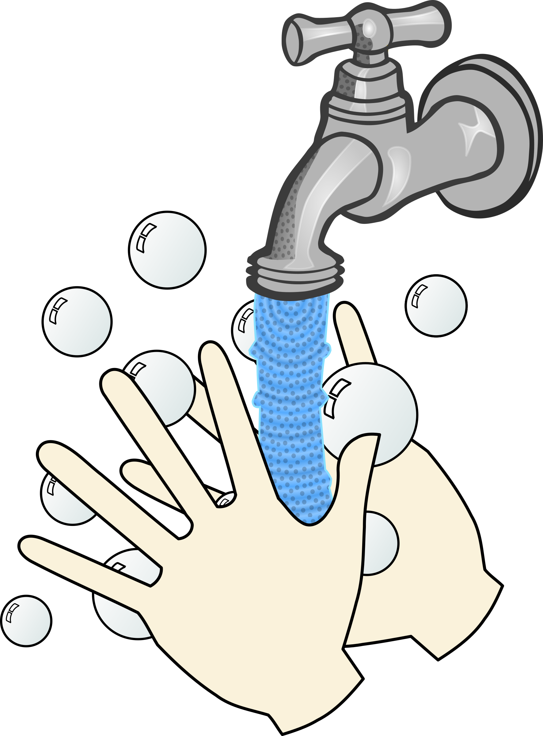 Washing your hands with soap and water vector clipart image.