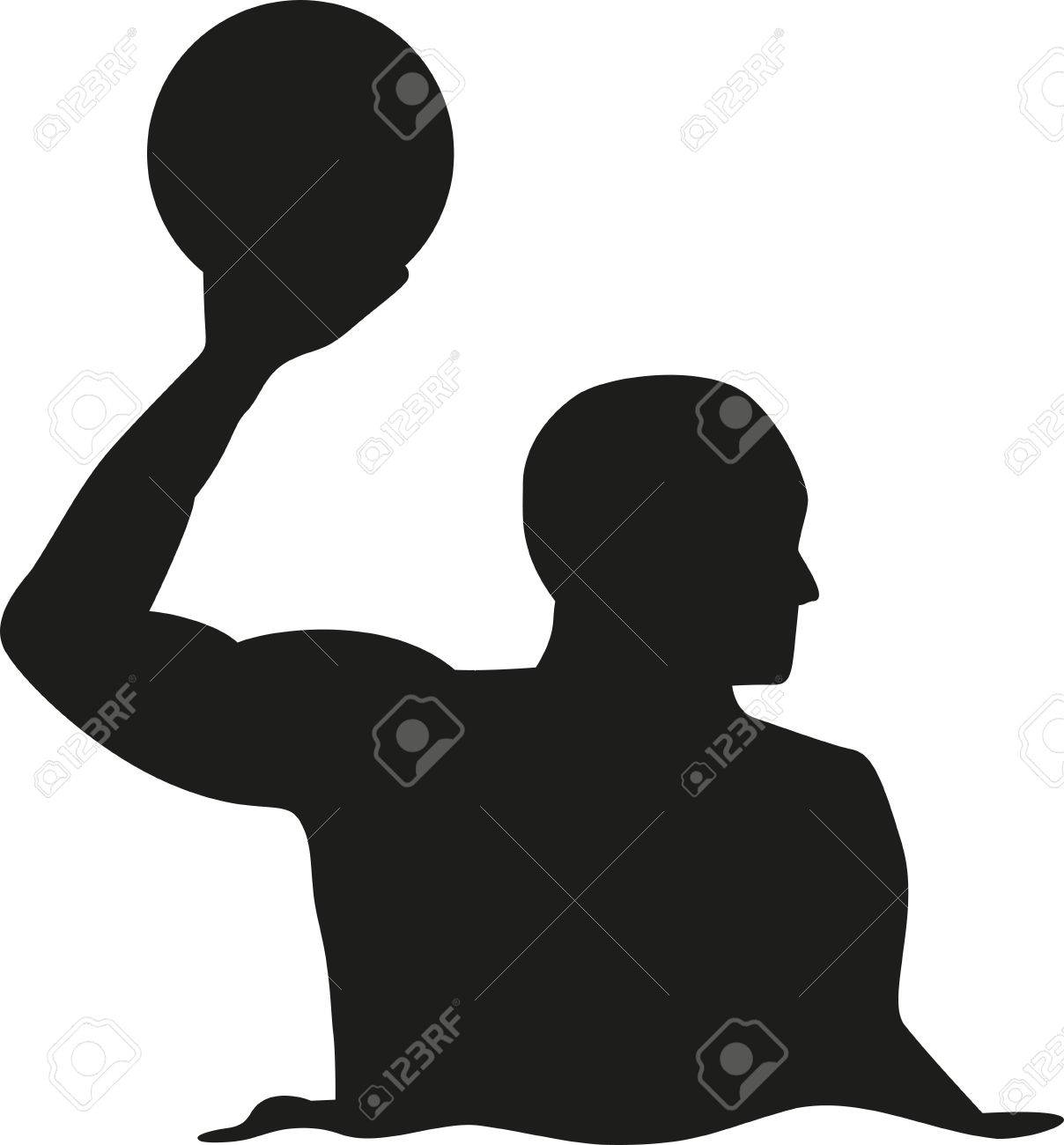 Water polo player silhouette.
