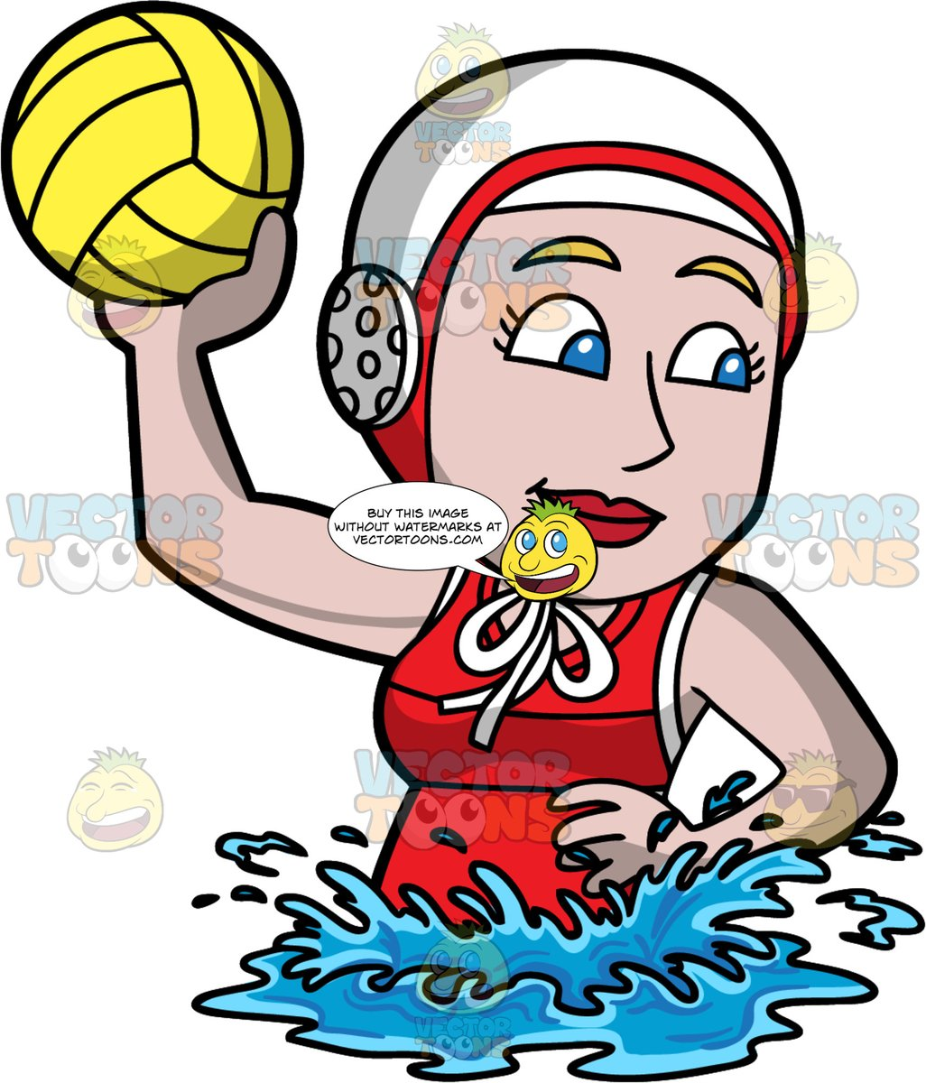 A Woman About To Throw A Water Polo Ball.