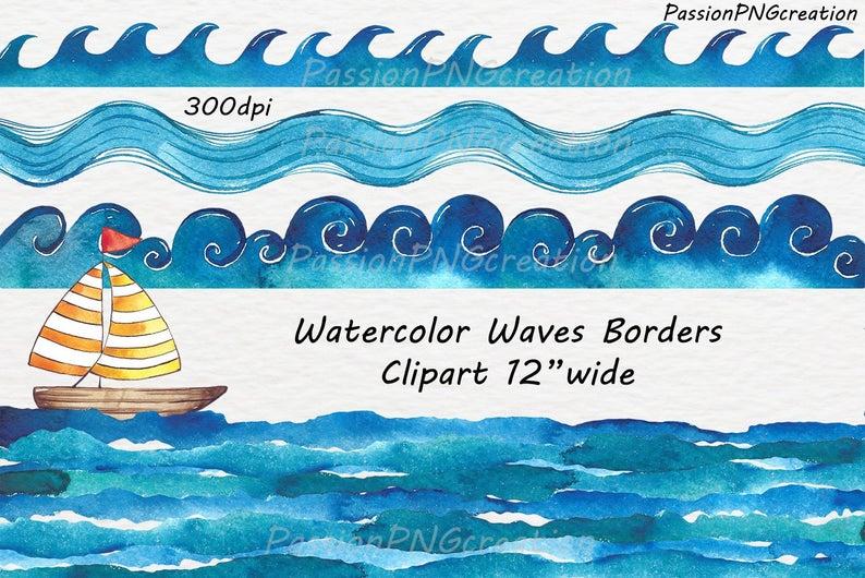 Watercolor Waves Borders Clipart, Waves clip art, Watercolour, clipart,  PNG, Borders, Personal and Commercial Use.