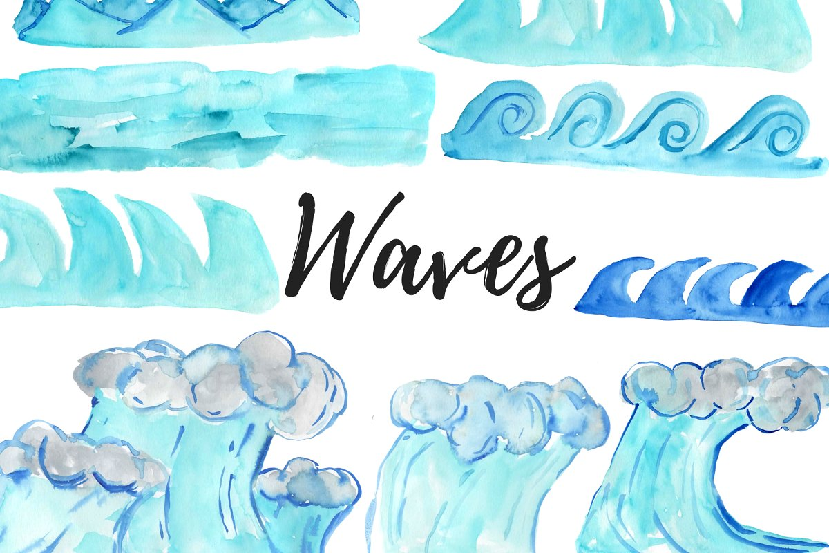 Watercolor Waves Clipart.