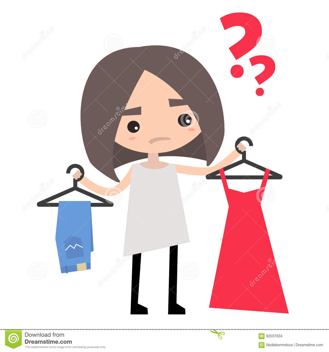 Young Girl Is Trying To Decide What To Wear Stock Vector.