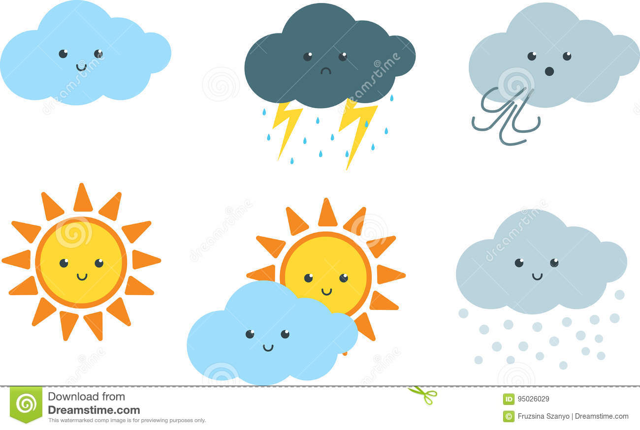 Cute Weather Cartoon Clipart Stock Vector.