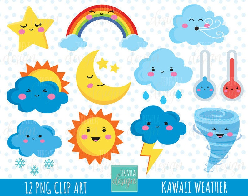 50% SALE WEATHER clipart, weather icons, commercial use, kawaii wather  graphics, cute, cloud, sun, storm, rainbow, moon, snow, star, cute.