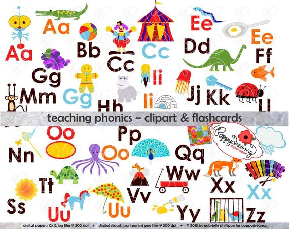 Teaching Phonics Clipart & Digital Flashcards: Digital Image Set.