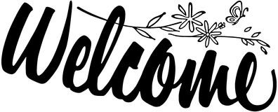 Welcome clipart graphic black white.