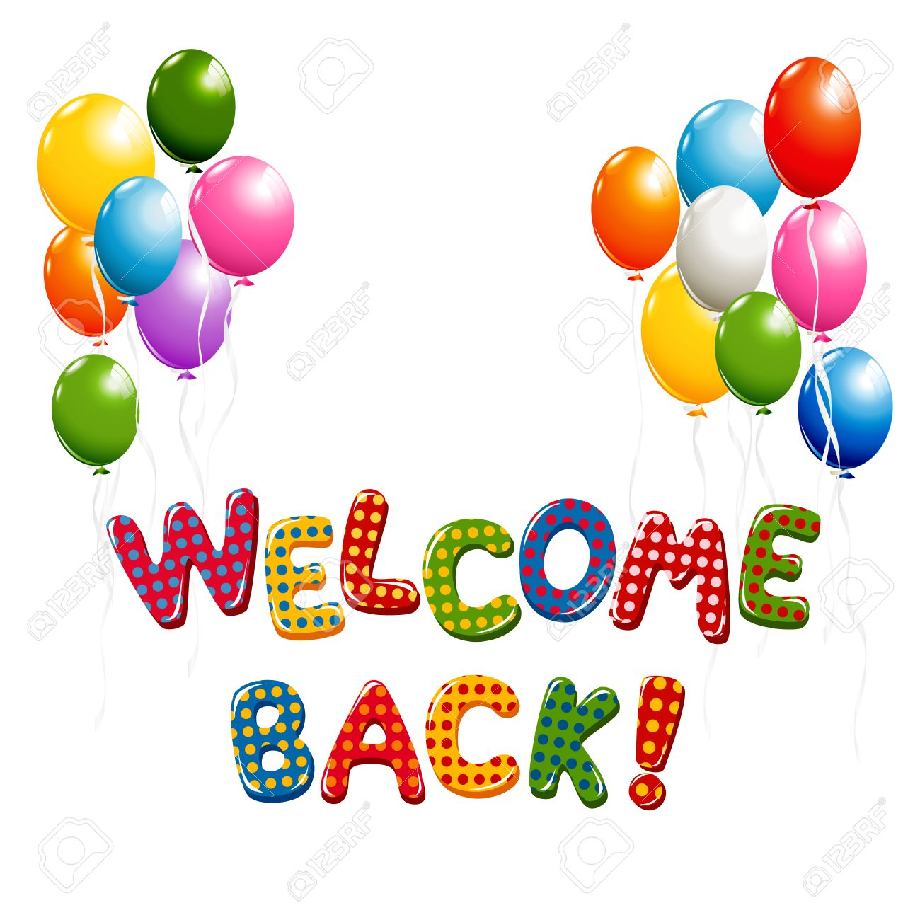 Welcome Back text in colorful polka dot design with balloons.
