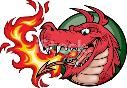 welsh) Dragon Fire Red premium clipart.