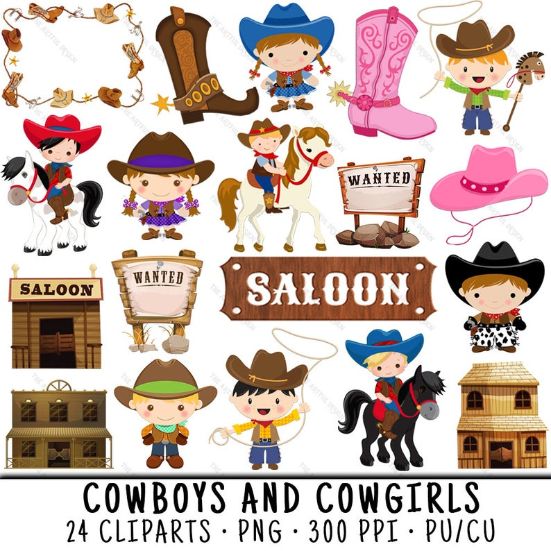 Cowboy Clipart, Cowgirl Clipart, Western Clipart, Cowboy Clip Art, Little  Cowboy PNG, Little Cowgirl PNG, Cowboy Clip Art, Western Clip Art.
