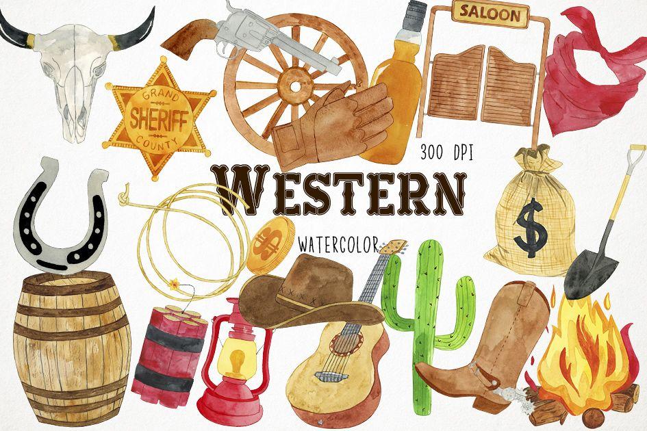 Watercolor Western Clipart, Western Clip Art, Cowboy Clipart.