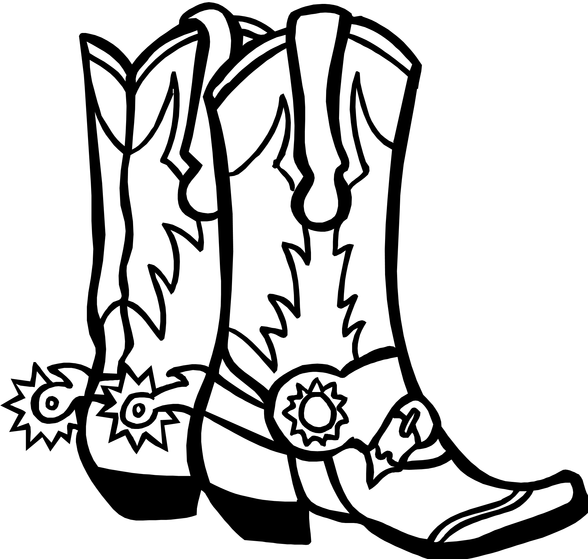 Drawings Of Cowboy Boots.