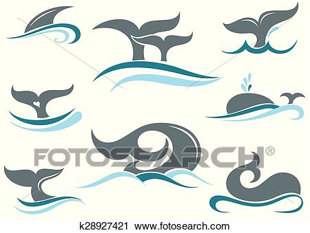 Whale tail icons Clipart.