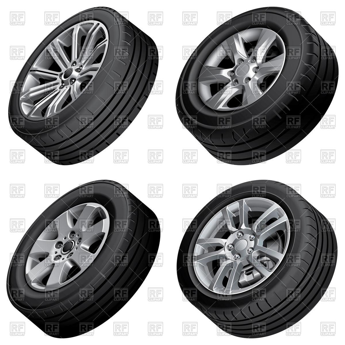 Set of car wheels Stock Vector Image.