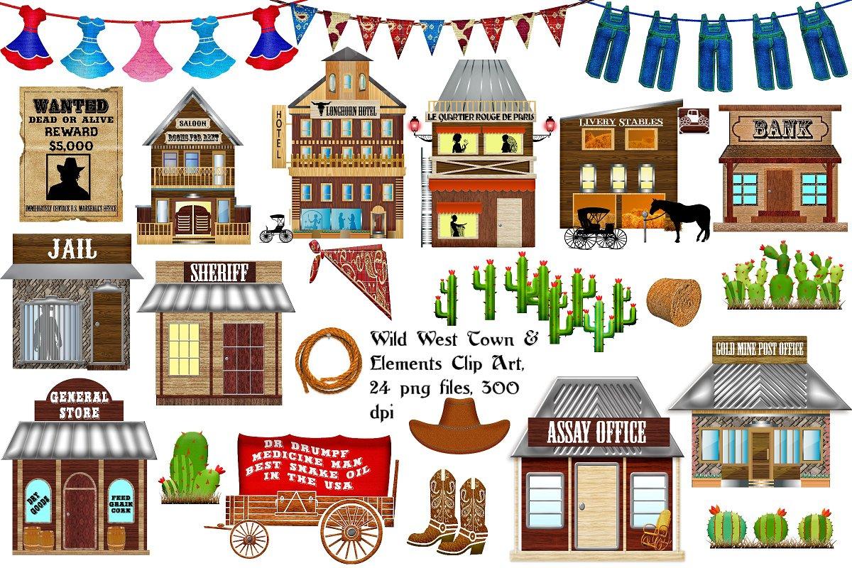 Wild West Town/Elements Clip Art.