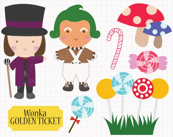 Film Inspired Willy Wonka and the Chocolate Factory Digital CLIP ARTS  personal commercial use for invitation, cupcake topper, party supplies.