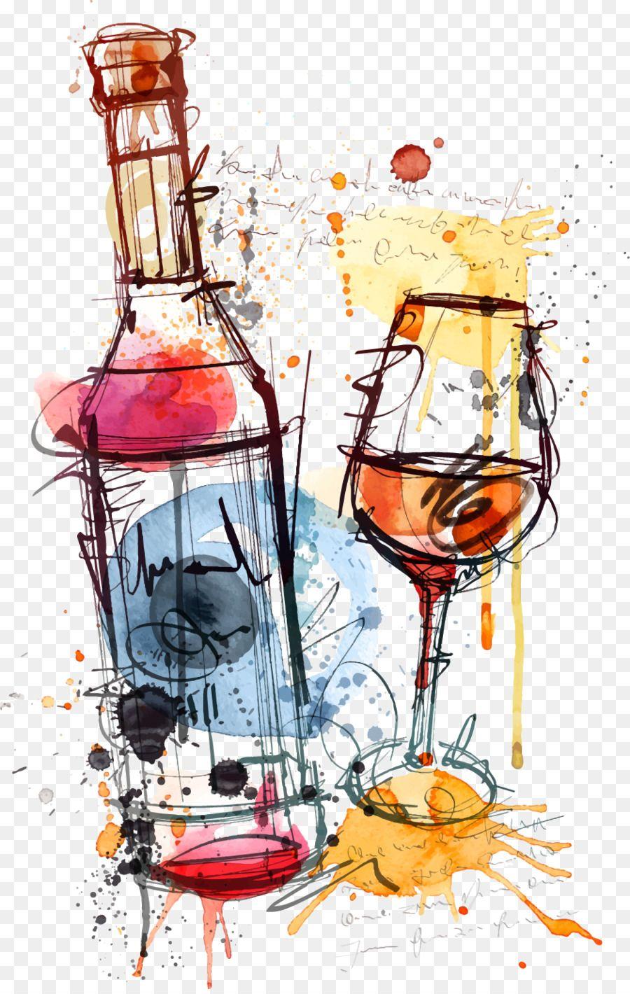 Red Wine Bottle Rosé Clip art.