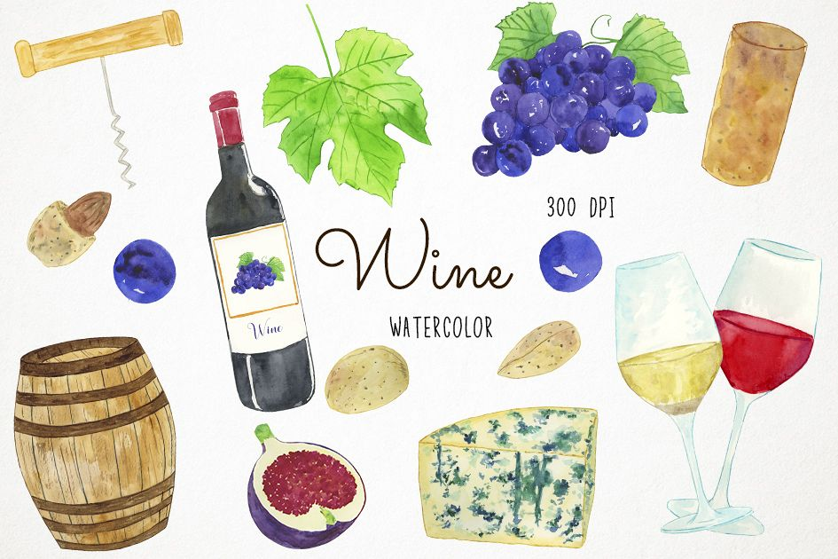 Watercolor Wine Clipart, Wine Clip Art, Wine Bottle Clipart.