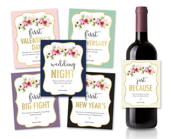 Wedding Wine Label Gift Set of 6.