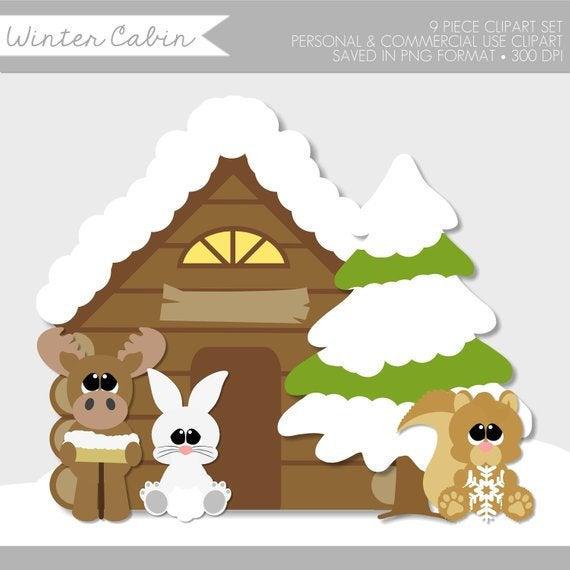 Winter Clipart,Winter Clipart Cute,Winter Animals Clip Art,Woodland.