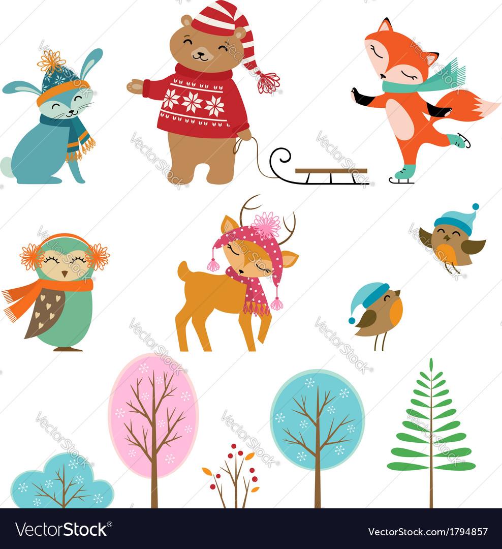 Cute winter animals.