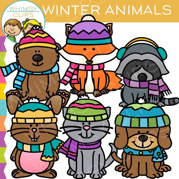Cute Winter Animals Clip Art.