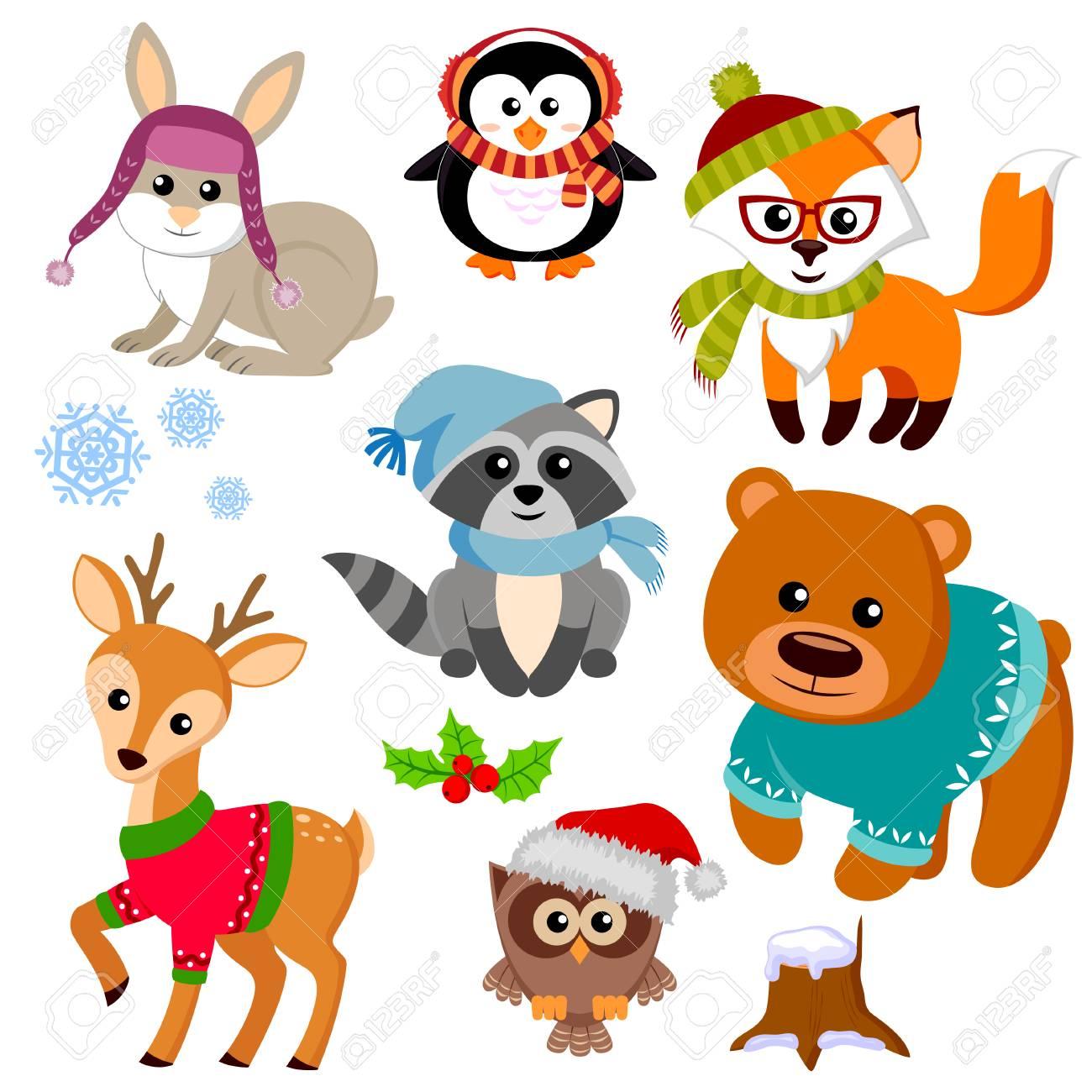 Winter animals in sweater, hat, scarf, glasses. Fox, bear, raccon,...