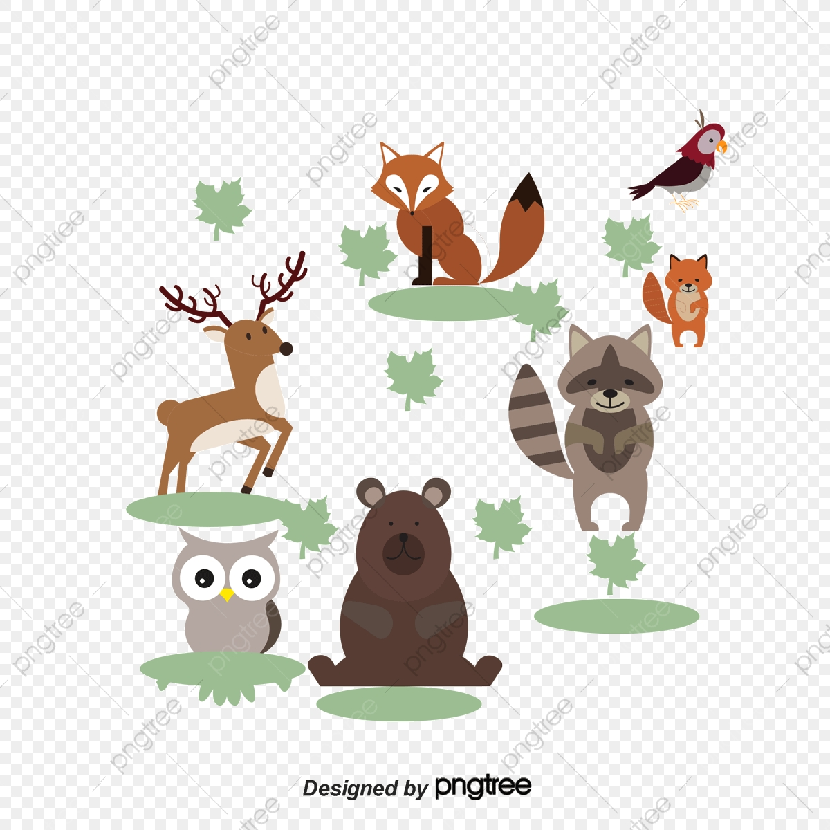 9 Cute Winter Animals, Winter Vector, Cute Clipart, Winter Clipart.