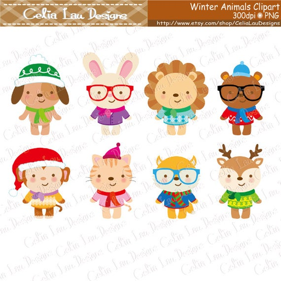 Cute Winter Animals Clipart, hipster animals clip art, fashion, winter,  sweaters (A030).