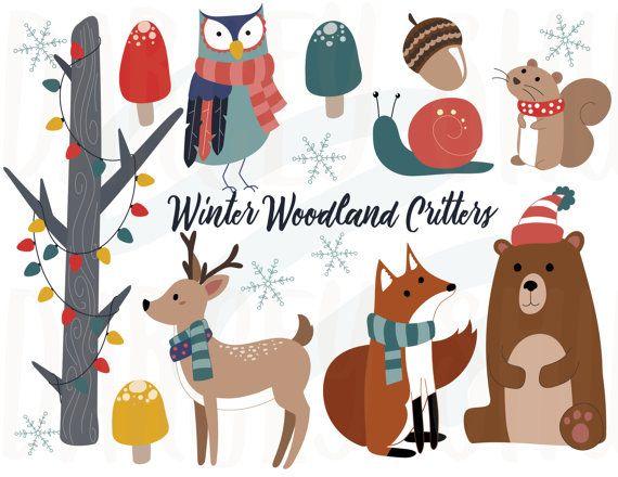 Winter woodland critters clipart, Winter animals, Christmas clip art.