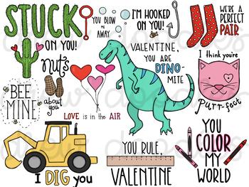 Valentine's Day Sayings Digital Clip Art.