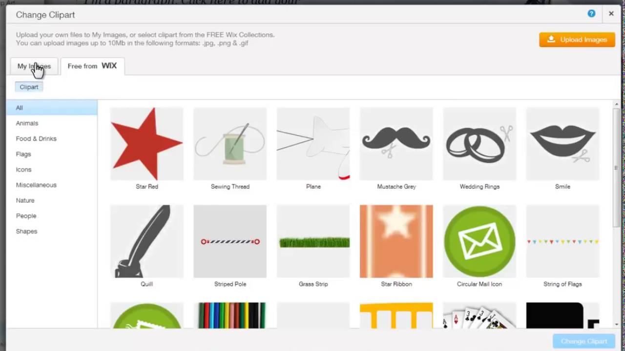 HTML Website Builder Adding Clip Art in Wix com.