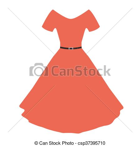 Vector red women dress with flat color..
