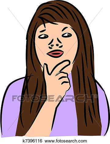 Woman Thinking Clip Art.