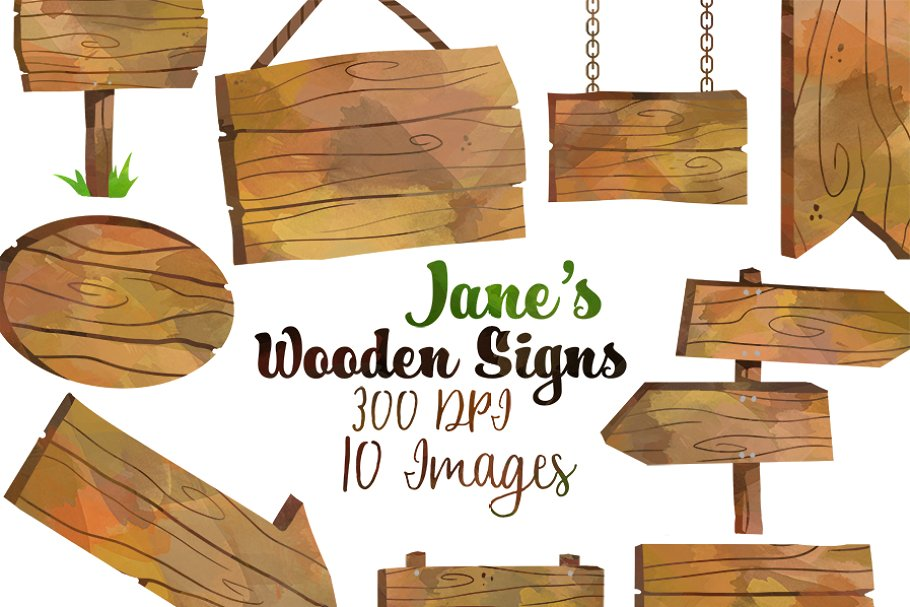 Wooden Signs Clipart.