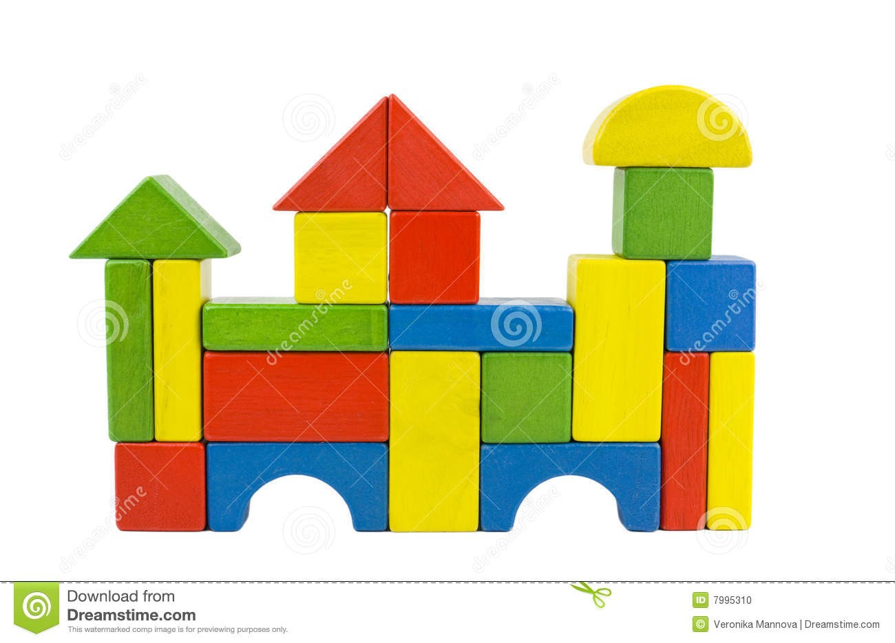 On Clipart Block House A With Wooden Blocks.