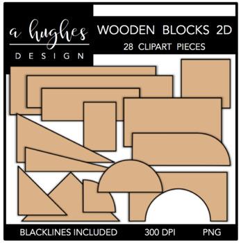 Wooden Blocks 2D Clipart {A Hughes Design}.