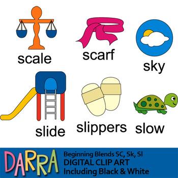 Blends clipart / phonics clip art (word families) beginning Sc, Sk, Sl.