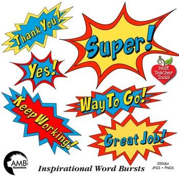 Superhero Callouts Clipart, Word Bursts, Inspirational Words, AMB.