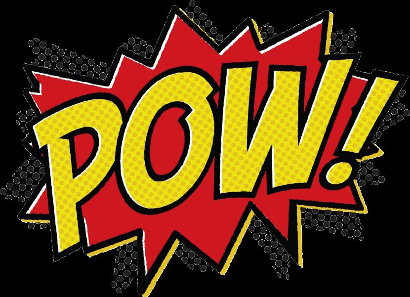 Superhero words clipart.