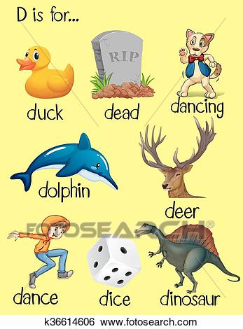 Words begin with letter D Clip Art.