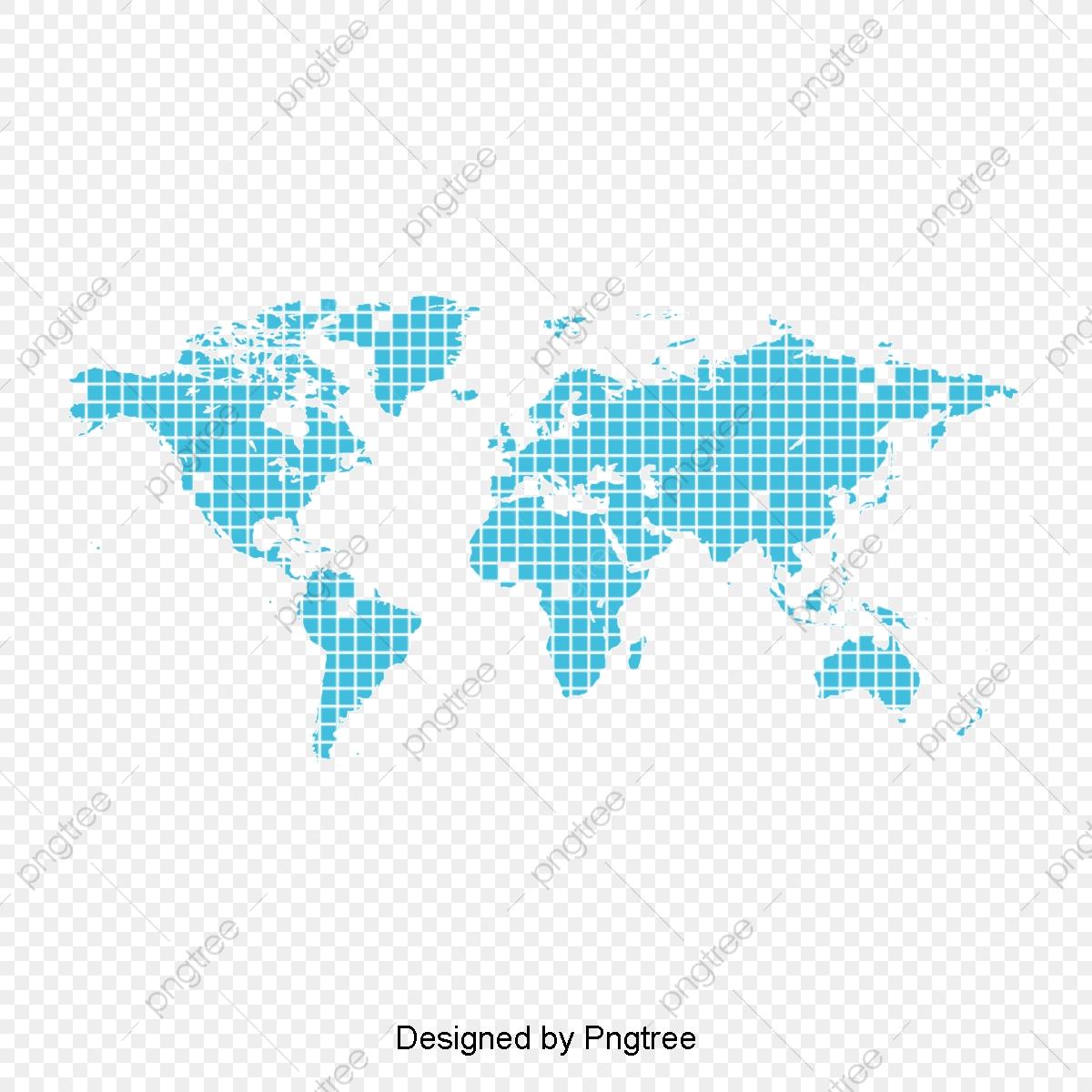Blue World Map Shape Element, World Clipart, Map Clipart, Creative.