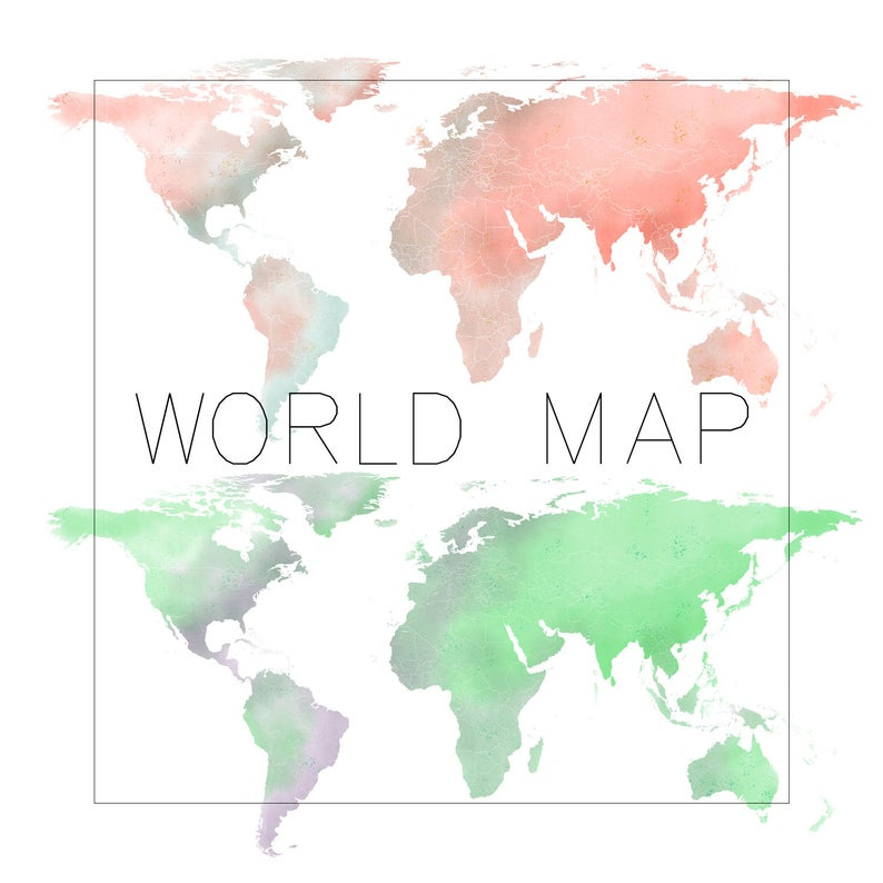 World Map Clipart, Watercolor Map Clipart, Watercolor World Map Clipart,  Commercial Use, Watercolour Clipart, Digital Map.
