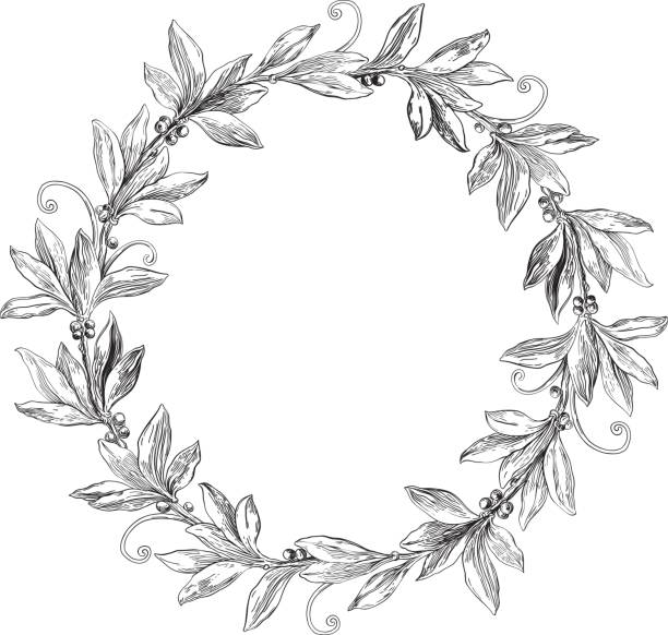 Best Black And White Wreaths Illustrations, Royalty.