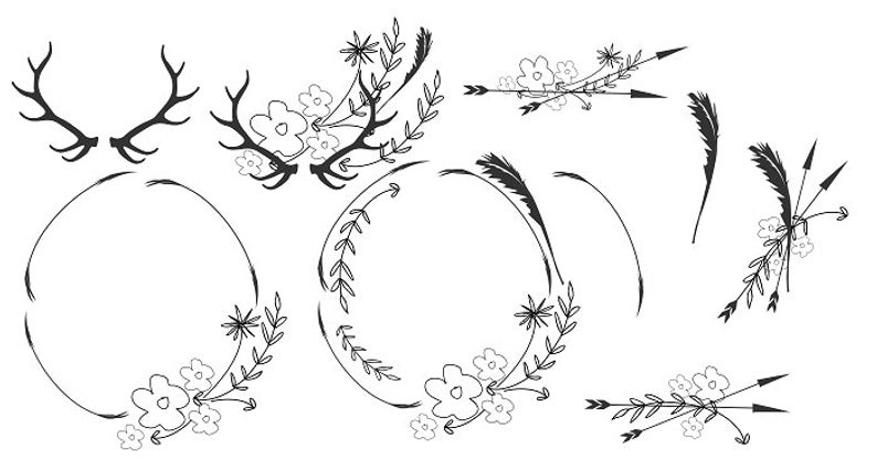 Boho Clipart Minimalist Wreaths Black White Clipart Leafy Wreath Leaves and  Flowers Minimalist Clipart Antlers Feathers Arrows Clipart.