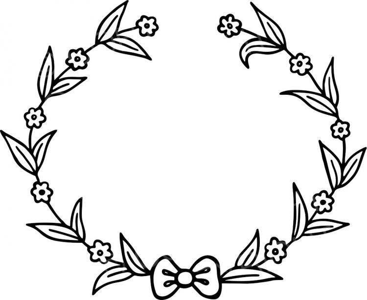 Black & White Line Drawing of a Floral Wreath Design Prawny Clip Art.