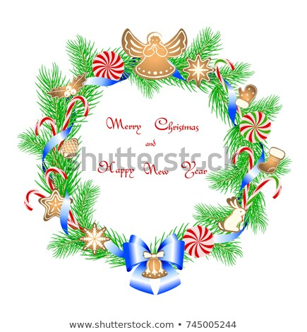 Wreath Christmas New Year Stock Vector (Royalty Free) 745005244.