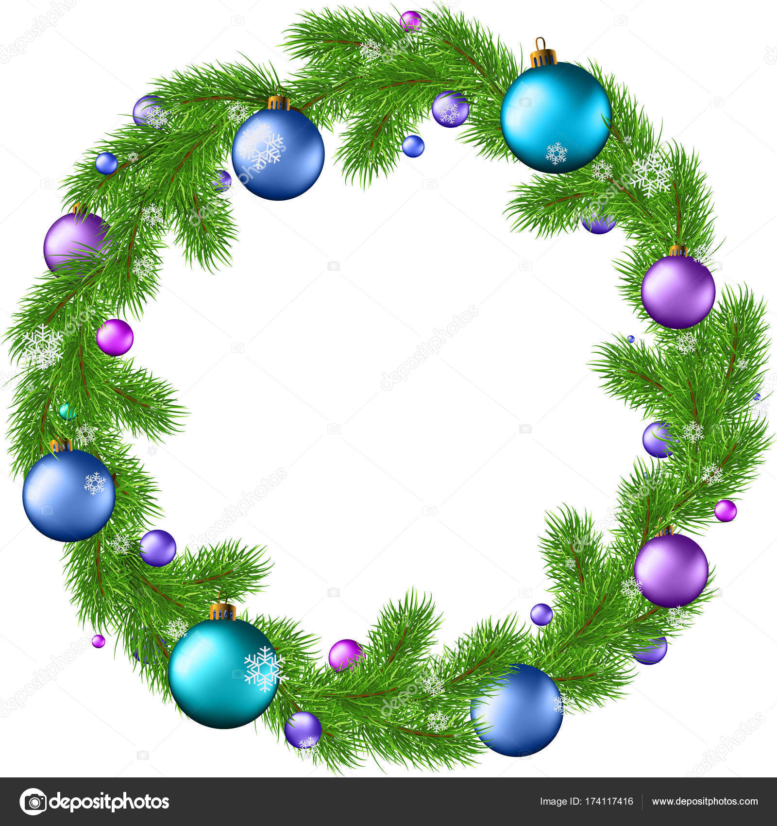 Holiday wreaths clip art.